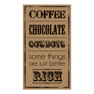 Pôster Café, chocolate, vaqueiros…