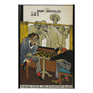Pôster Café vienense: Os jogadores de xadrez (Wiener