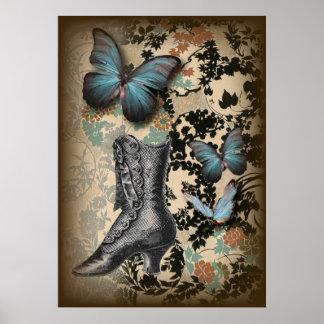Pôster calçados chicfloral do Victorian do vintage da