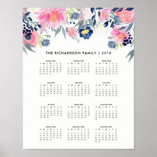 Poster Calendário 2018 floral na moda do rosa e dos azuis