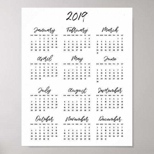 Calendario 2019 Moderno.Poster Calendario 2019 Preto E Branco Moderno