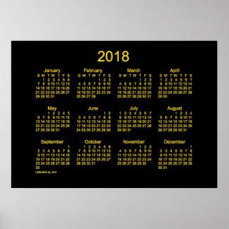 Pôster Calendário de parede do ouro de 2018 néons por