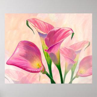 Pôster Callas cor-de-rosa - pintura