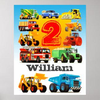 Poster Caminhão da construção do segundo aniversário do