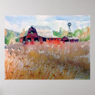 Pôster Campo de trigo de Indiana e celeiro vermelho velho