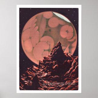 Poster Canais da ficção científica de Marte do vintage