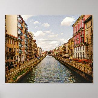 Pôster Canal Milão de Navigli