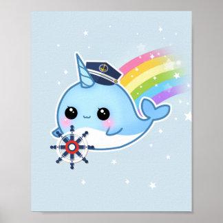 Pôster Capitão bonito do kawaii narwhal com arco-íris