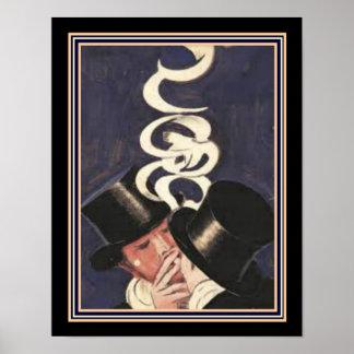 "Poster Cappiello Deco ""fumo no espelho"" 11 x 14"