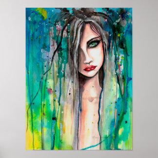 Poster Cara no retrato 12 x 16 da fantasia do abstrato da