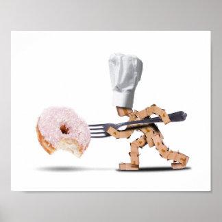 Poster Caráter da caixa do cozinheiro chefe que ataca uma