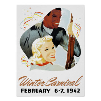 Poster Carnaval do inverno do vintage