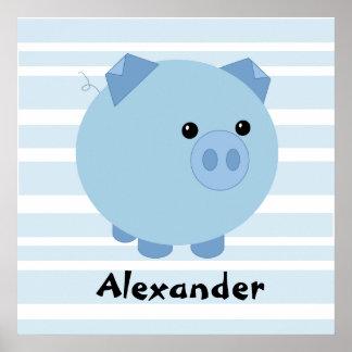 Poster carnudo azul personalizado do porco