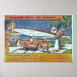 Pôster Carro futurista da ficção científica do vintage