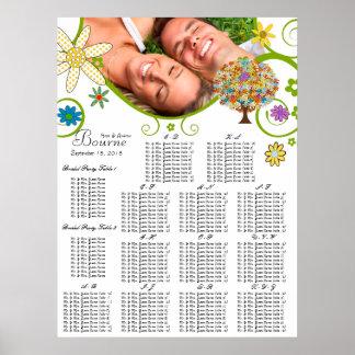 Pôster Carta do assento da árvore da flor alfabética