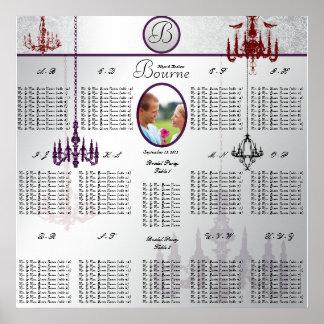 Pôster Carta do assento da foto do casamento do
