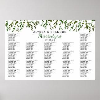 Pôster Carta do assento da recepção de casamento das