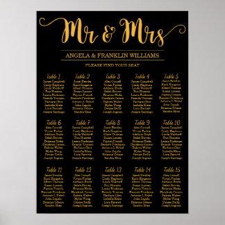 Pôster Carta do assento do casamento, cor editável do