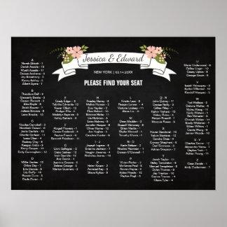 Pôster Carta do assento do casamento da flor, cor feita