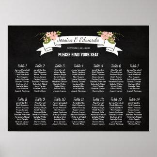 Poster Carta do assento do casamento da flor, cor feita
