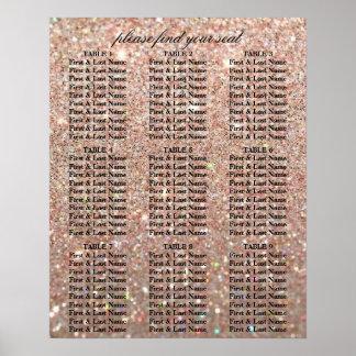 Poster Carta do assento - ouro cor-de-rosa Glit fabuloso