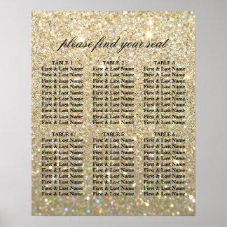 Pôster Carta do assento - ouro Glit fabuloso