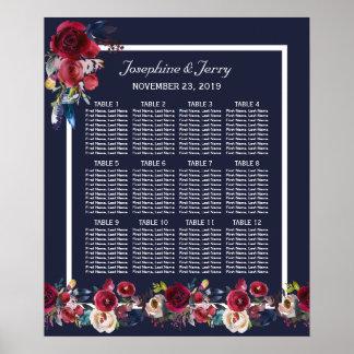 Pôster Carta floral do assento do casamento do Merlot de