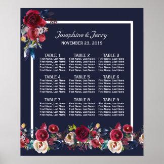 Poster Carta floral do assento do casamento do Merlot de