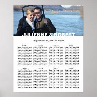 Poster Carta moderna do assento do casamento da foto dos