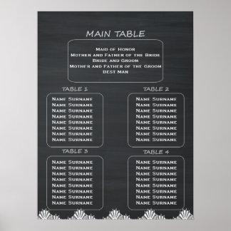 Pôster Carta rústica do assento do quadro do casamento