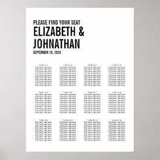 Poster Carta simples & mínima do assento do casamento da