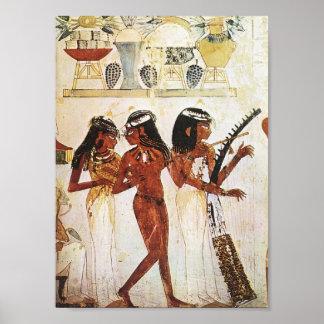 Pôster Cartão egípcio dos músicos das mulheres