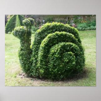 Pôster Cartaz bonito do jardim do caracol do Topiary