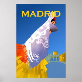 Pôster Cartaz das viagens vintage de Madrid