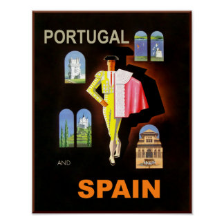 Pôster Cartaz do viagem da espanha e do Portugal