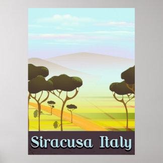 Pôster Cartaz do viagem da paisagem de Siracusa Italia