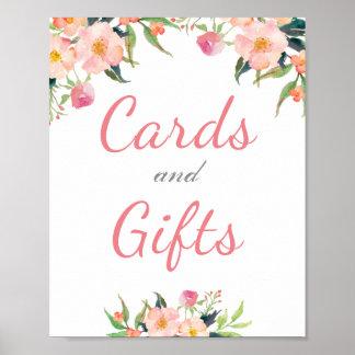 Pôster Cartões florais e presentes da aguarela que