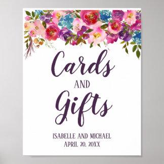 Pôster Cartões & presentes florais roxos & cor-de-rosa