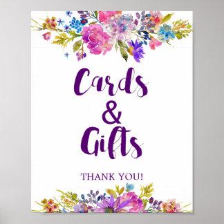 Pôster Cartões & presentes roxos do jardim da ameixa que