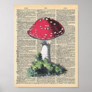 Poster Casa vermelha da fada do cogumelo da arte do