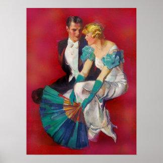 Poster Casal romance do vintage no vestido de noite com