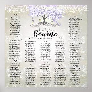 Poster Casamento da árvore da folha do coração da lavanda