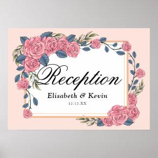 Pôster Casamento dourado do quadro dos rosas do art deco
