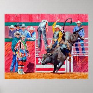 Pôster Cavaleiro do palhaço e da Bull do rodeio