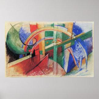 Poster Cavalo azul com o arco-íris por Franz Marc