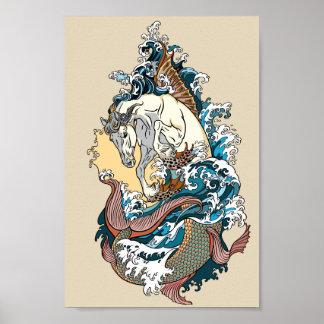 Pôster cavalo de mar mitológico