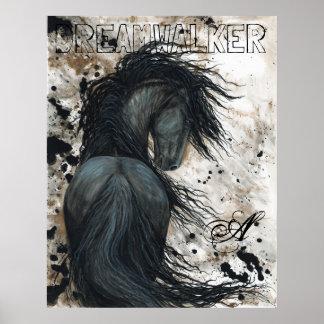 Poster Cavalo majestoso do garanhão do preto do frisão