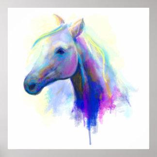 Pôster Cavalo principal multi-colorido abstrato