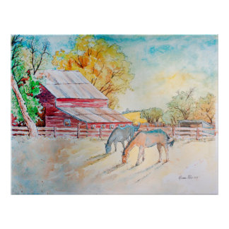 Poster Celeiro e cavalos vermelhos no pasto