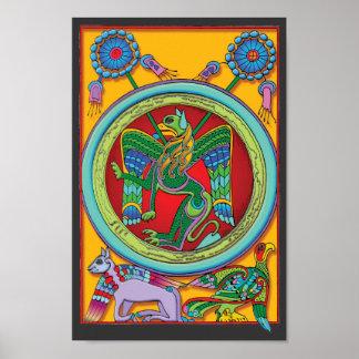 Poster celta colorido do impressão do art deco do